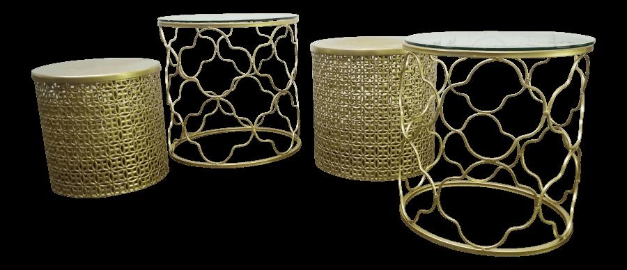 Gold Quatrefoil Nesting Tables | Uniquely Chic Vintage Rentals