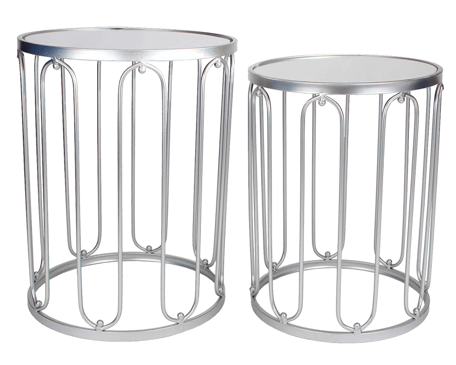 Silver Round End Tables | Uniquely Chic Vintage Rentals