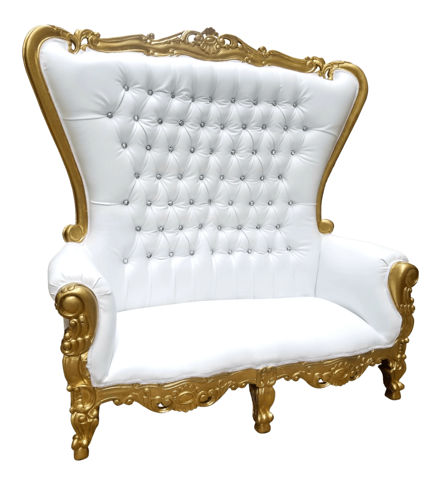 Gold Throne Loveseat | Uniquely Chic Vintage Rentals