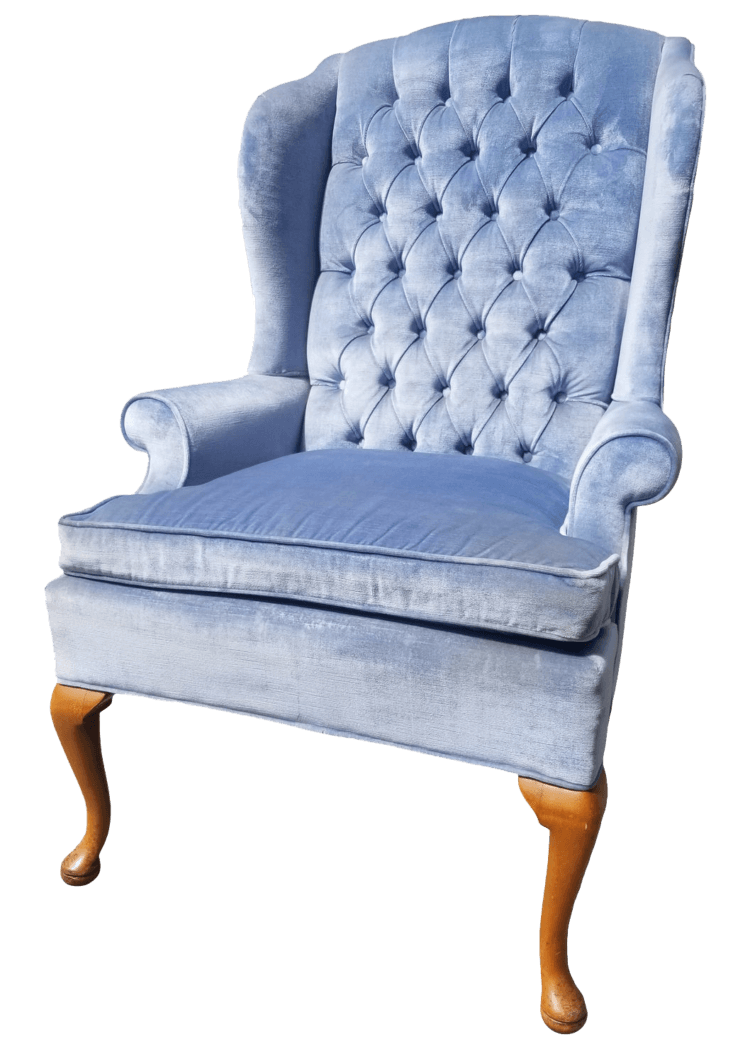 Icy Blue Velvet Wingback Chair | Uniquely Chic Vintage Rentals