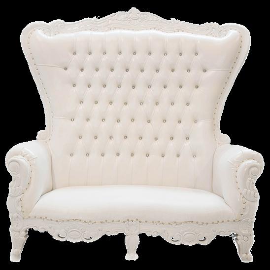 White Throne Loveseat | Uniquely Chic Vintage Rentals