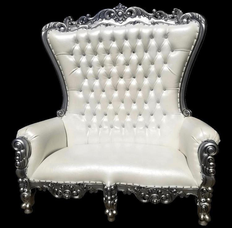 Silver Throne Loveseat | Uniquely Chic Vintage Rentals