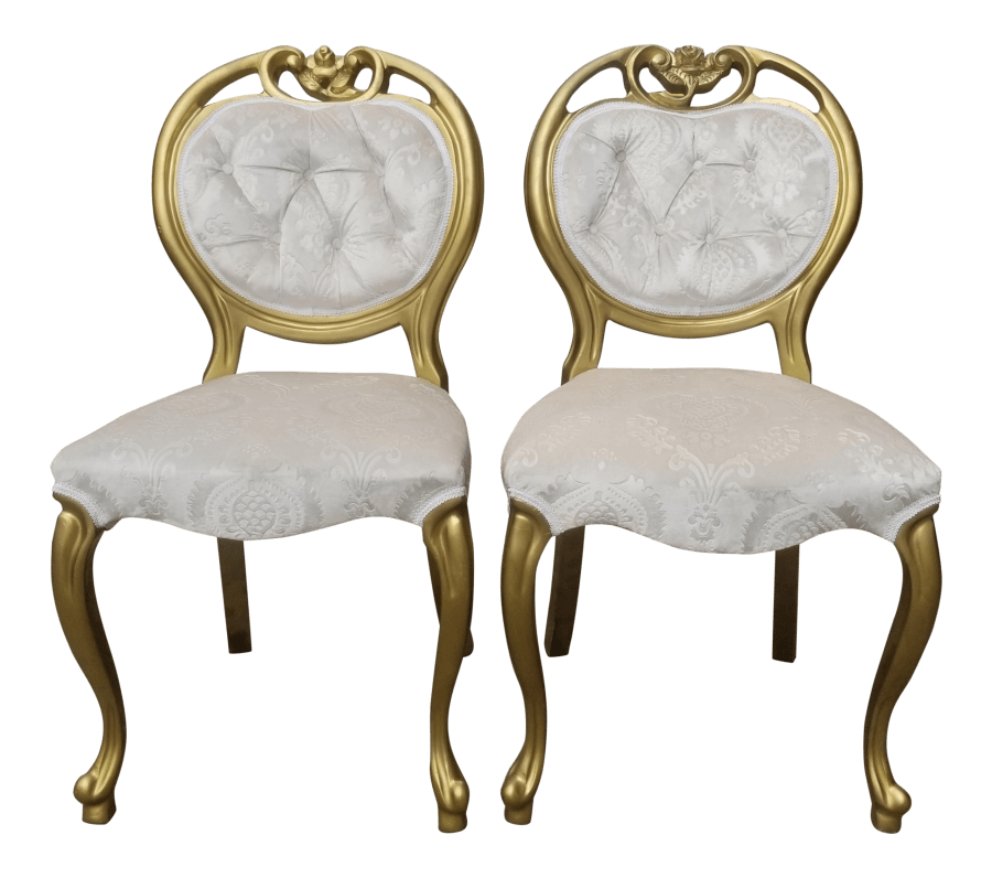 Gold & Ivory Damask Sweetheart Chairs | Uniquely Chic Vintage Rentals