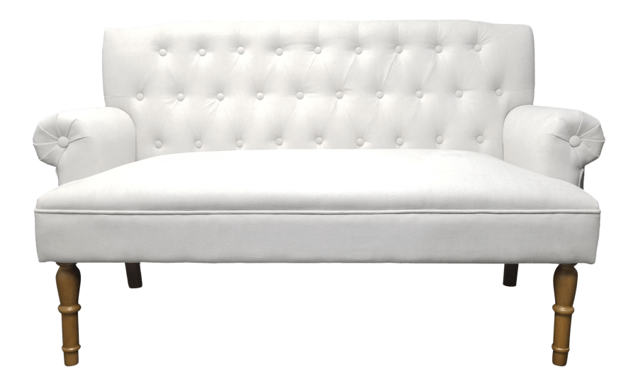 Ivory Chesterfield Sweetheart Settee | Uniquely Chic Vintage Rentals