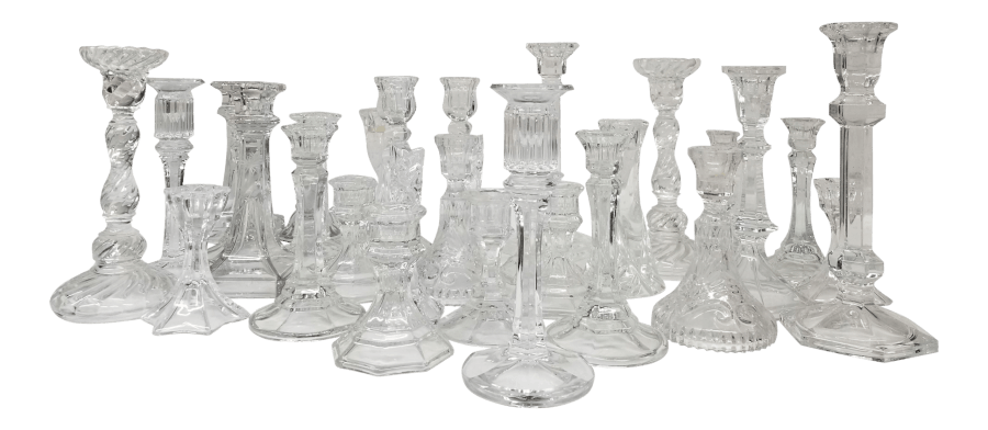 Mismatched Glass Crystal Candleholders | Uniquely Chic Vintage Rentals