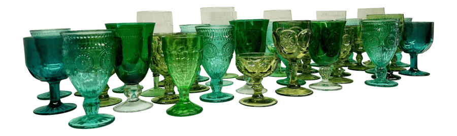 Green Glass Goblets | Uniquely Chic Vintage Rentals
