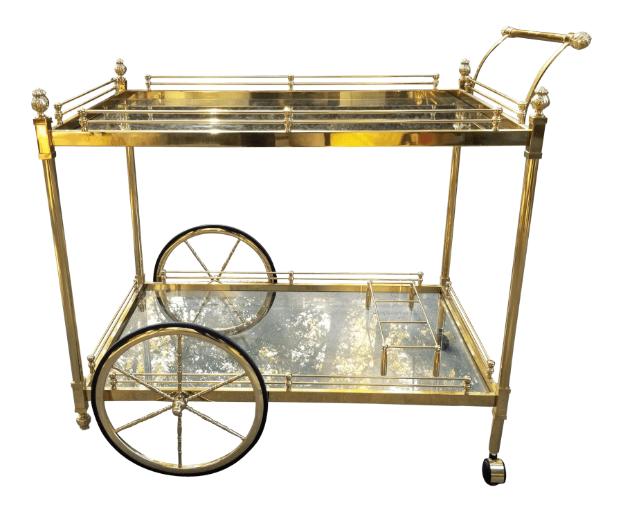 Vintage Gold Rolling Bar Cart | Uniquely Chic Vintage Rentals