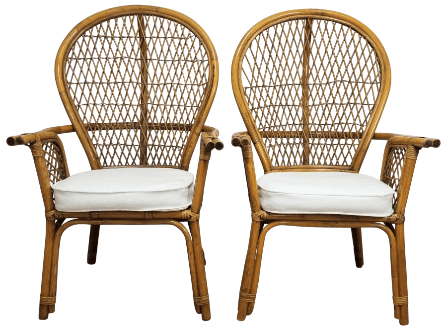 Boho Bamboo White Linen Peacock Chairs | Uniquely Chic Vintage Rentals