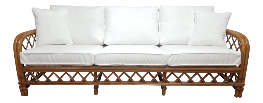 Boho Bamboo White Linen Lounge Sofa | Uniquely Chic Vintage Rentals