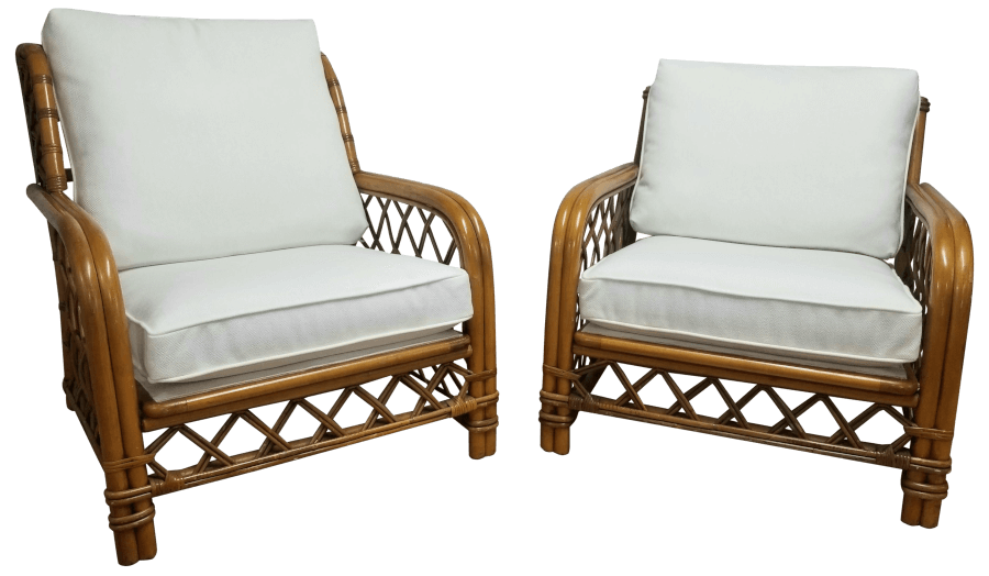 Boho Bamboo White Linen Lounge Chairs | Uniquely Chic Vintage Rentals