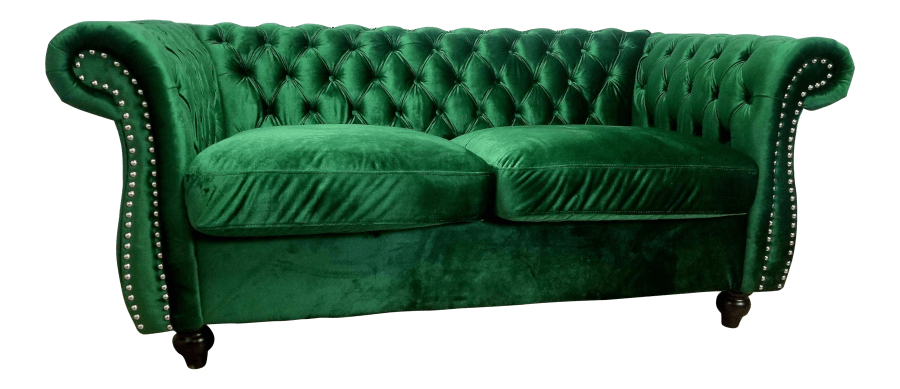Upholstered Seating - Emerald Green Velvet Sofa | Uniquely Chic Vintage Rentals