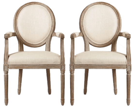 Ivory Linen Natural Armchairs | Uniquely Chic Vintage Rentals