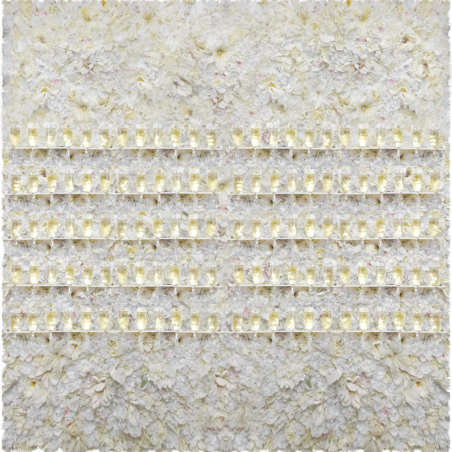 White Flower Champagne Wall | Uniquely Chic Vintage Rentals