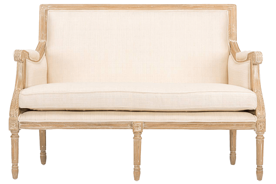 Ivory Linen Natural Wood Settee | Uniquely Chic Vintage Rentals