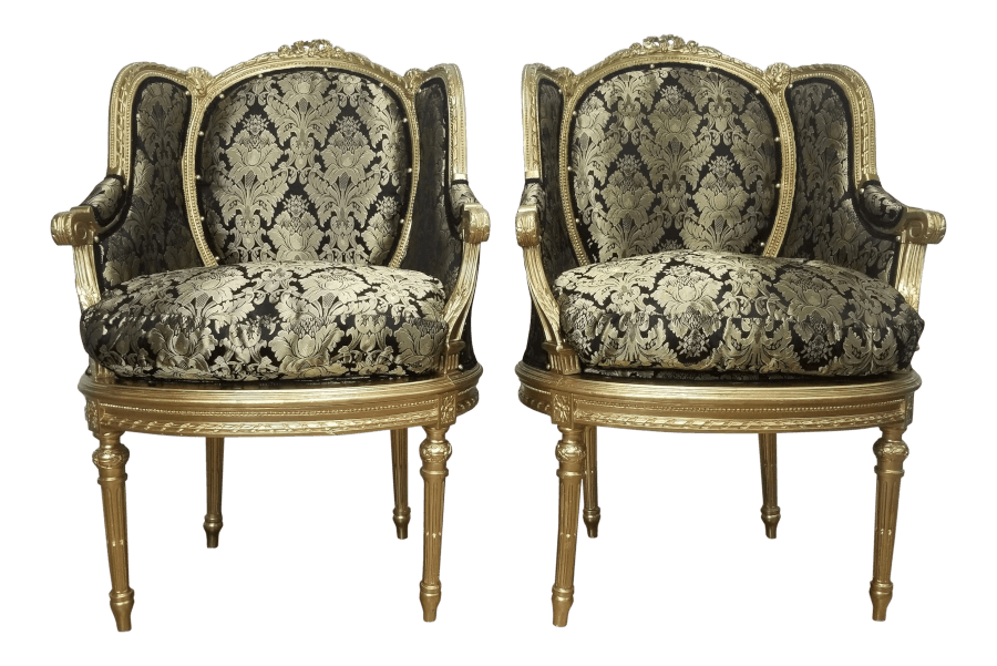 Gatsby Gold and Black Damask Chairs | Uniquely Chic Vintage