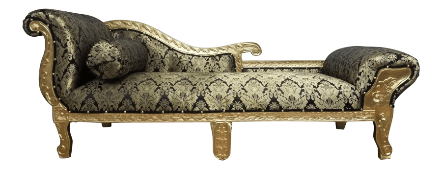 Gatsby Gold and Black Damask Chaise | Uniquely Chic Vintage Rentals