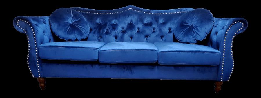 Classic Blue Velvet Sofa | Uniquely Chic Vintage Rentals