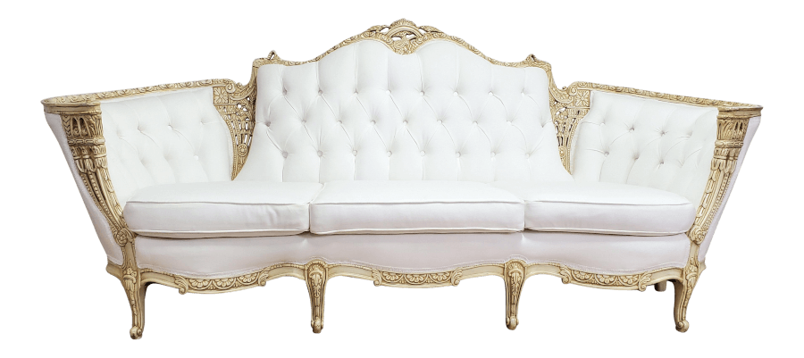 Victorian Natural Ivory Linen Couch | Uniquely Chic Vintage Rentals