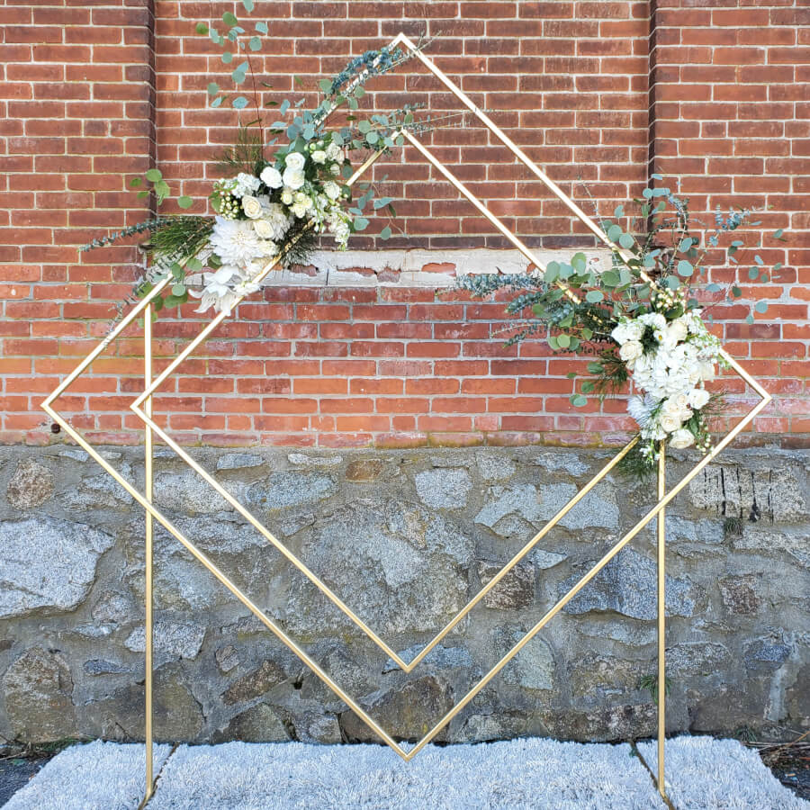 Gold Geometric Diamond Arbor with Florals | Uniquely Chic Vintage Rentals