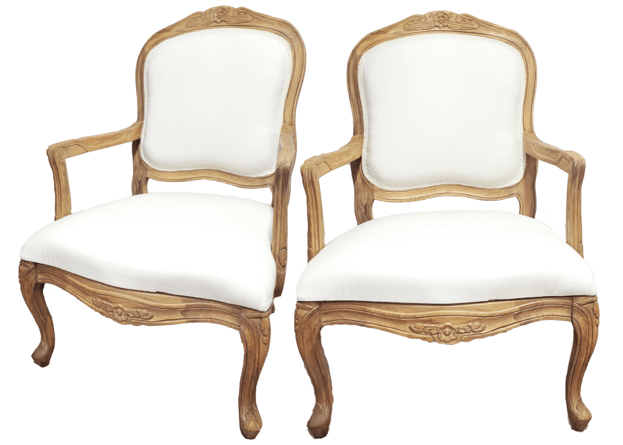 French Natural Ivory Linen Chairs | Uniquely Chic Vintage Rentals