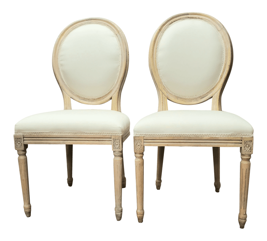 French Round Ivory Linen Chairs