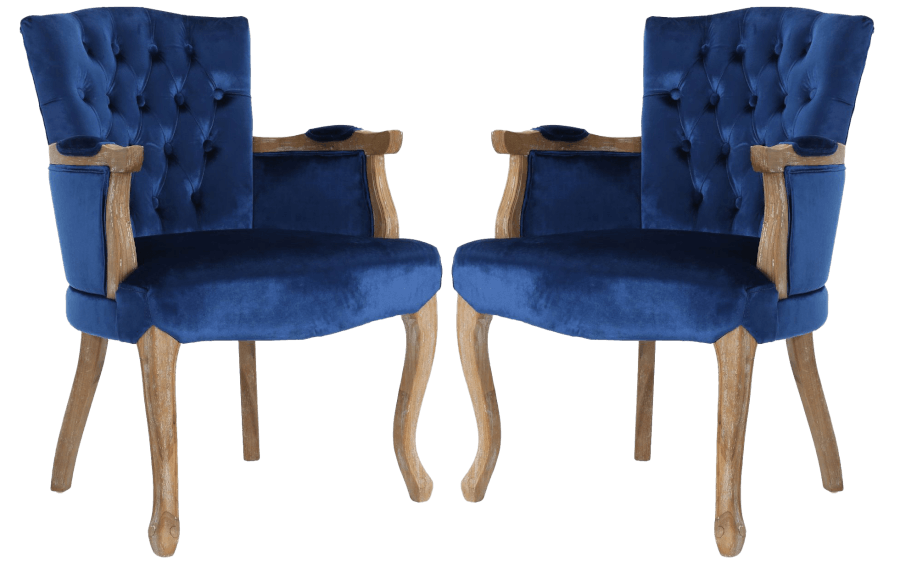 Classic Blue Velvet Accent Chairs | Uniquely Chic Vintage Rentals