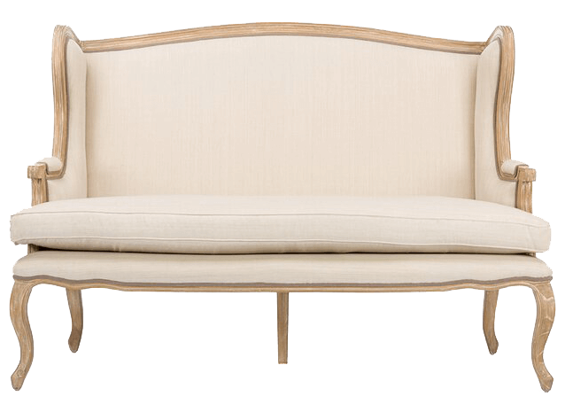 French Natural Ivory Linen Loveseat | Uniquely Chic Vintage Rentals