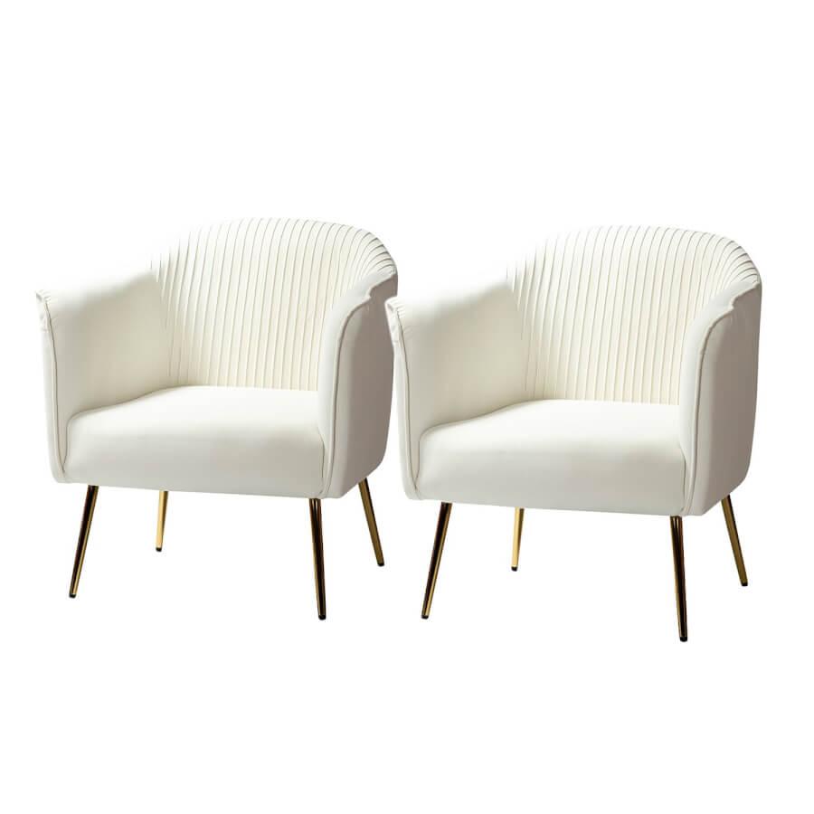 White Pleated Velvet & Gold Armchairs