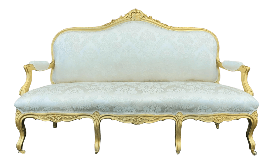 Louis XVI French Gold and Ivory Brocade Settee