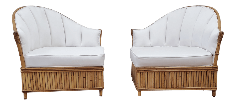 Boho Ivory Linen Lounge Chairs