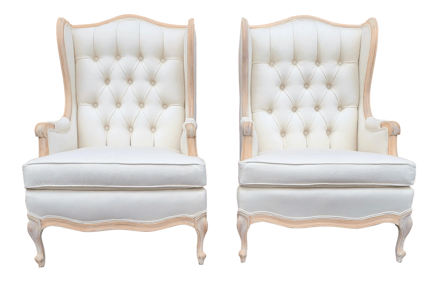 Ivory French Wingback Chairs