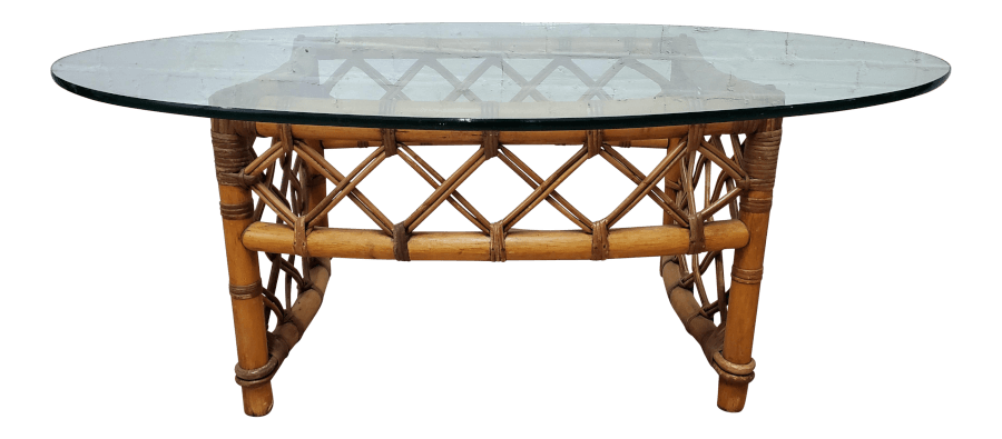 Boho Bamboo Glass Coffee Table | Uniquely Chic Vintage Rentals