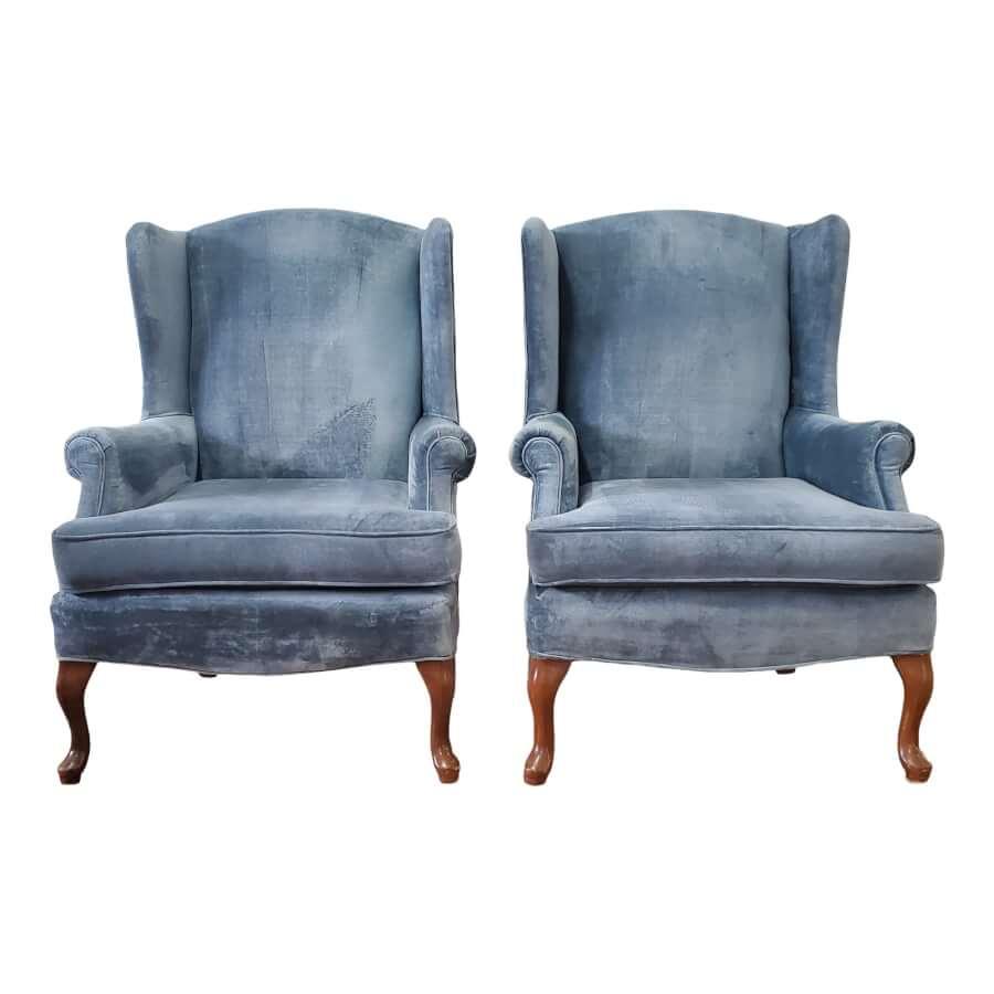 Vintage Blue Velvet Wingback Chairs
