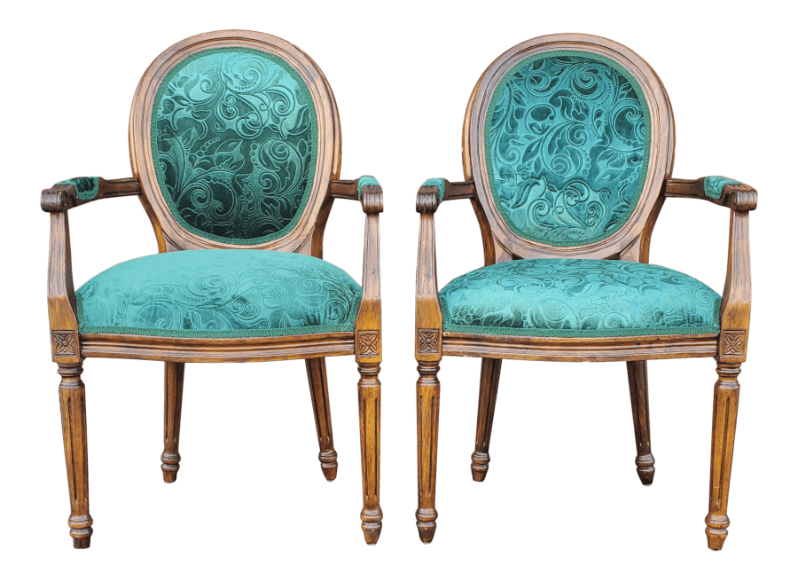 Green Damask Chairs