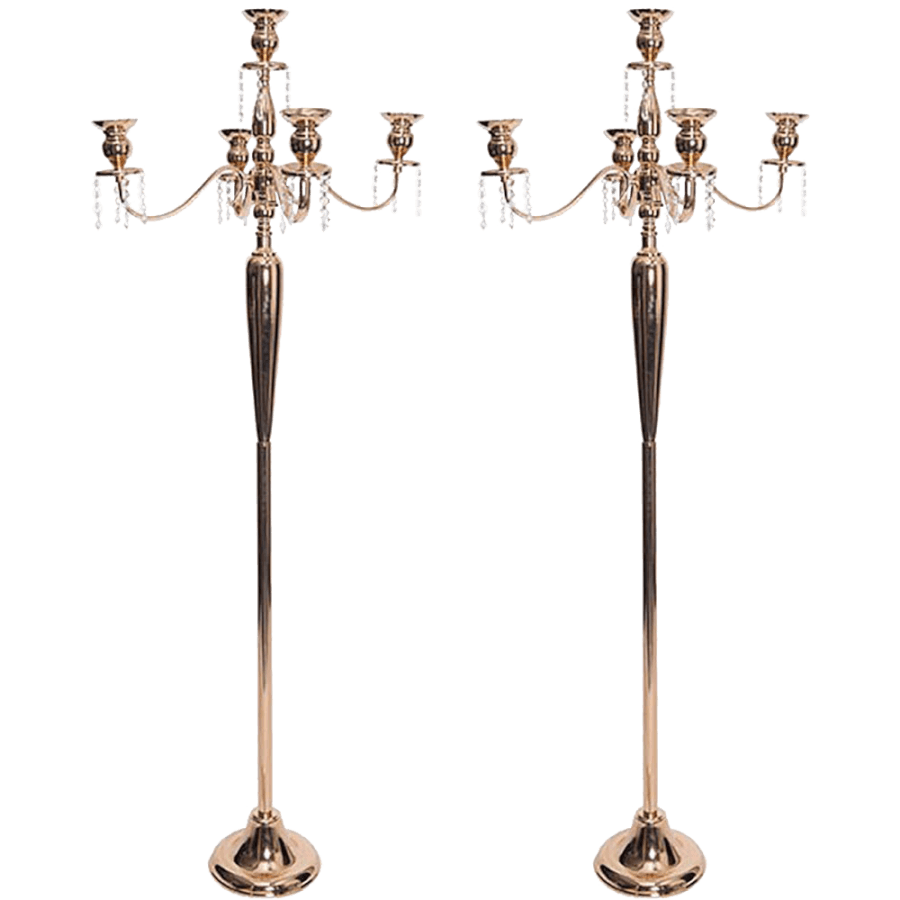 Standing Gold Crystal Candelabras | Uniquely Chic Vintage Rentals