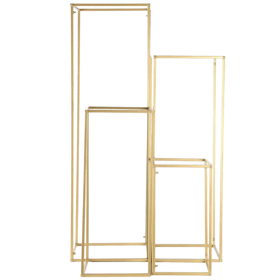 Gold Geometric Riser Stands | Uniquely Chic Vintage Rentals