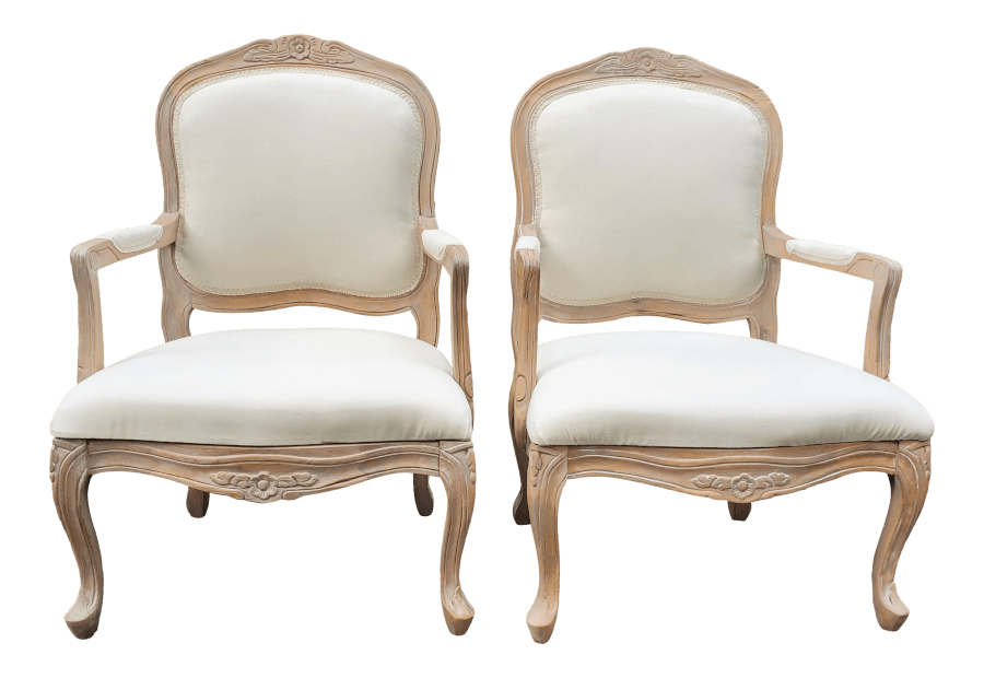 Ivory Linen Natural French Chairs