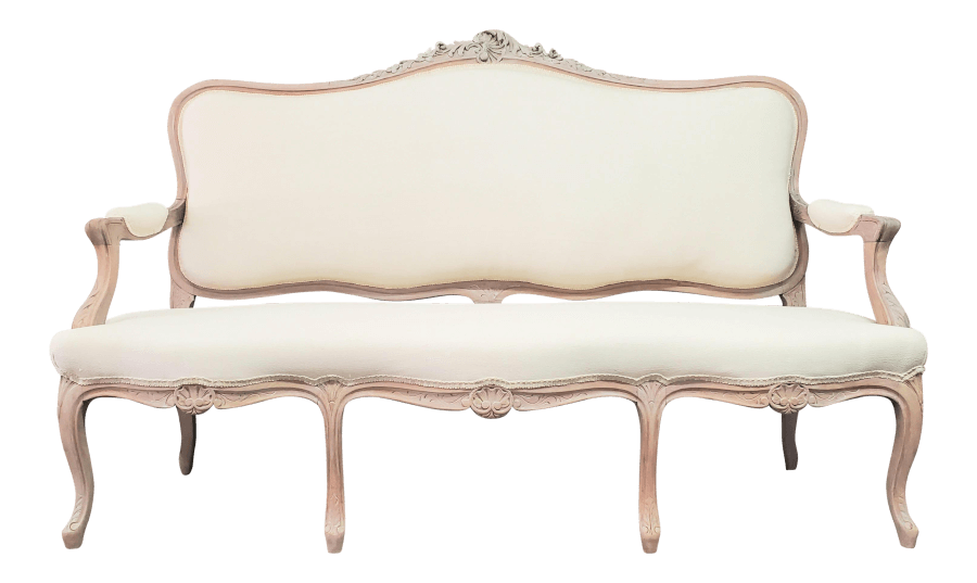 Natural Wood Ivory Linen Settee