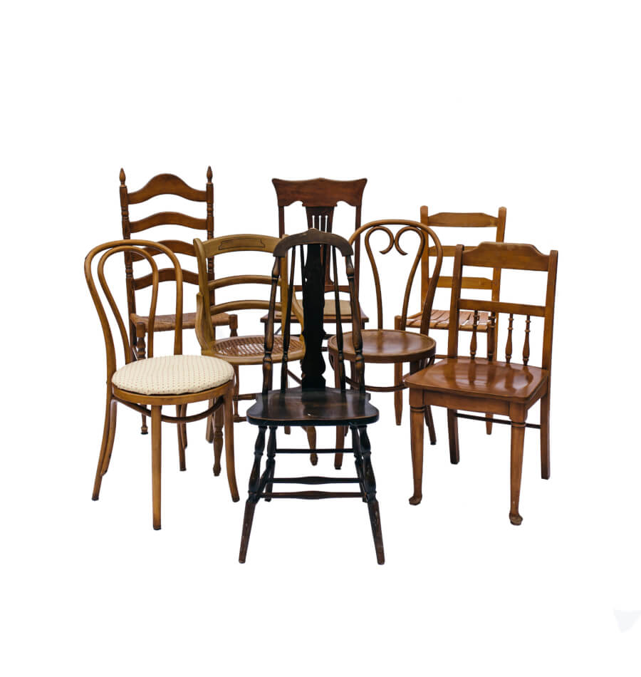 Mismatched Wood Chairs