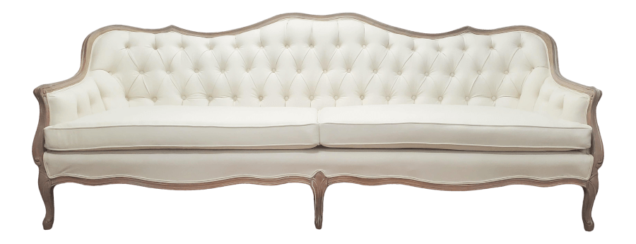 Natural Wood Ivory Linen Loveseat