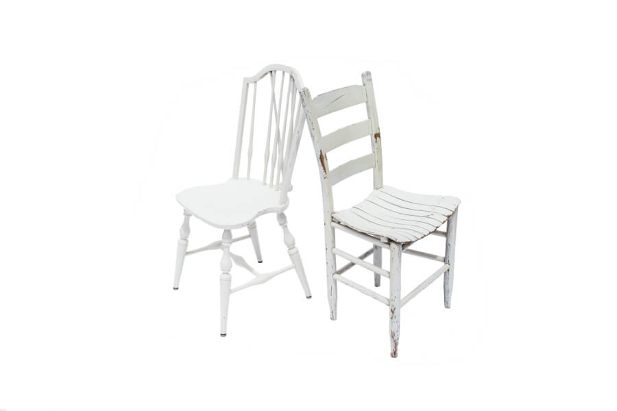 Vintage White Mismatched Chairs