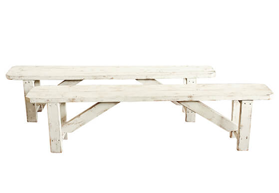 White Washed Wood Benches