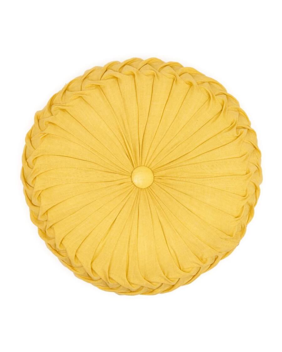 Yellow Round Pintuck Pillow