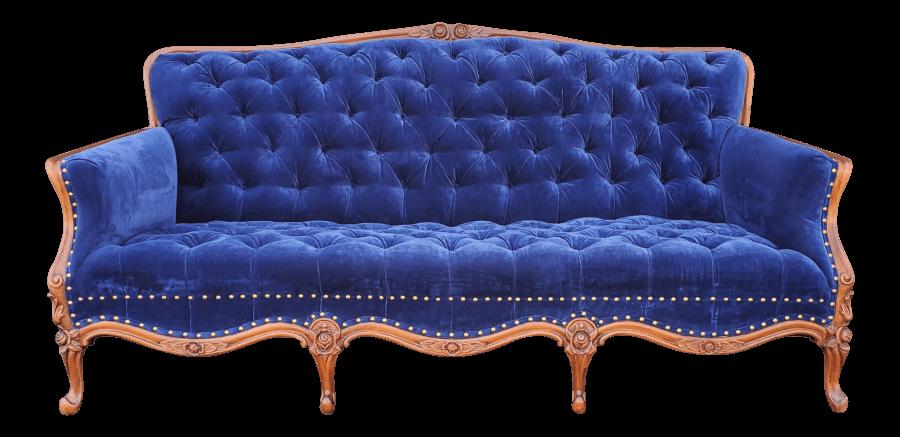 Vintage Blue Velvet Chesterfield Sofa