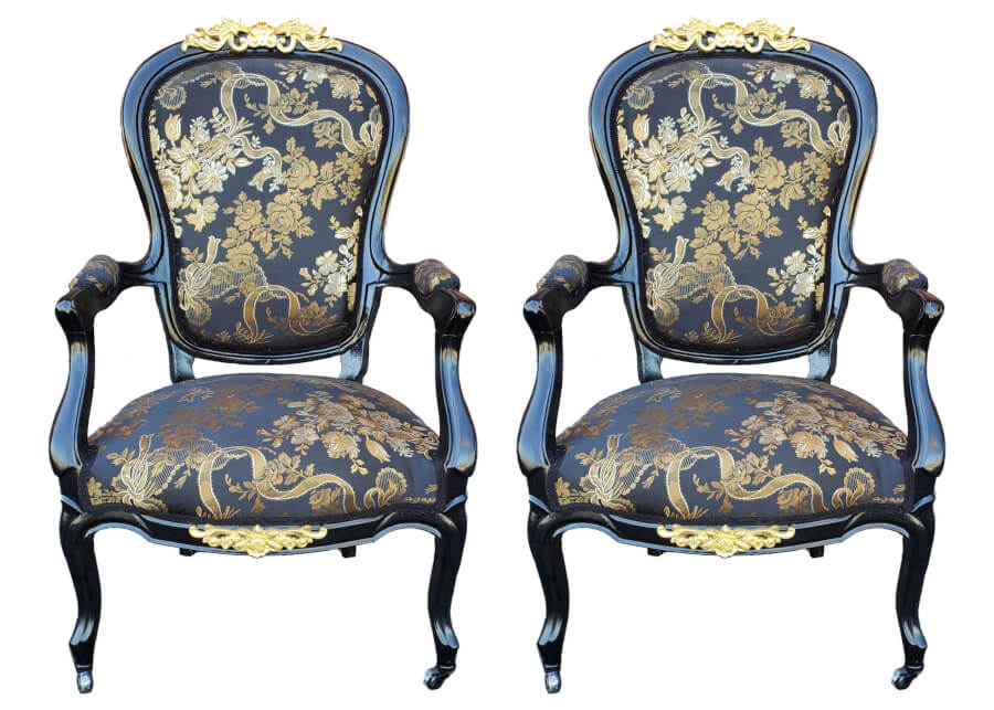 Victorian Black and Gold Chairs