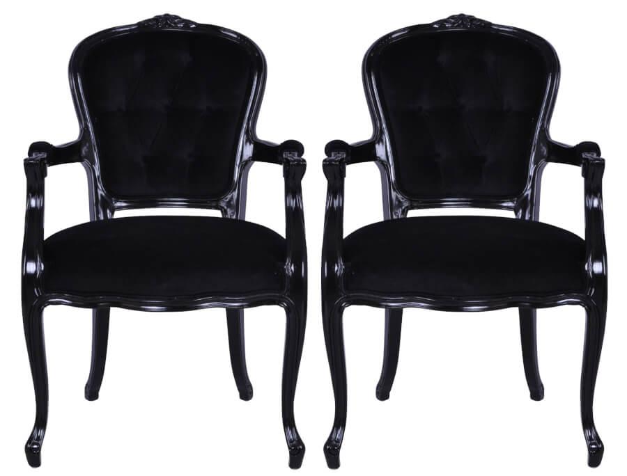 French Black Velvet Armchairs