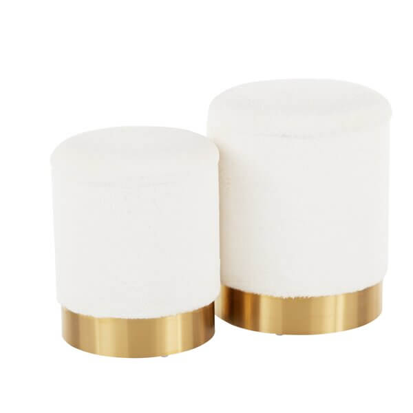 Classic White and Gold Ottomans