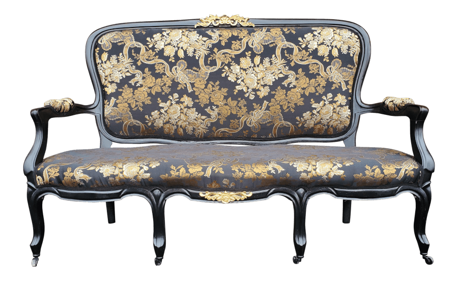 Victorian Black and Gold Settee