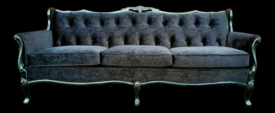 French Black Velvet Sofa