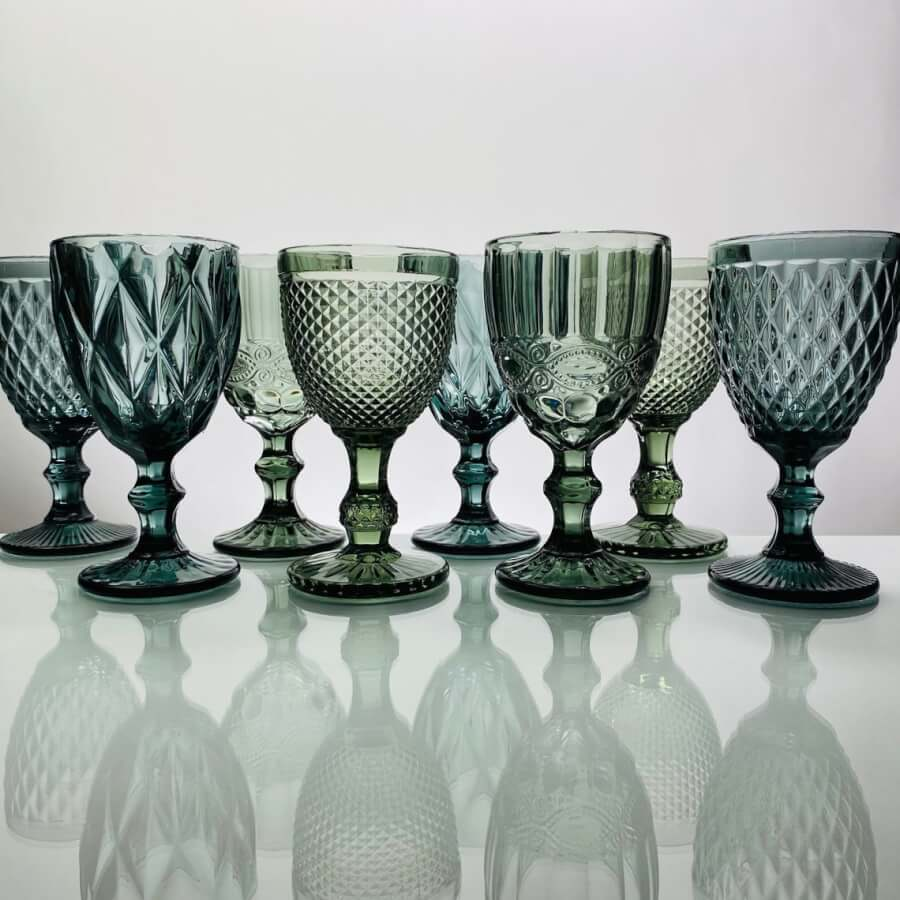 Smoke / Gray Vintage Glass Goblets